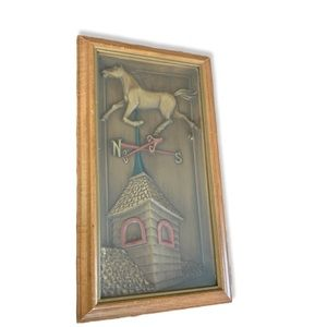 Vintage Turner farmhouse wood carving horse art